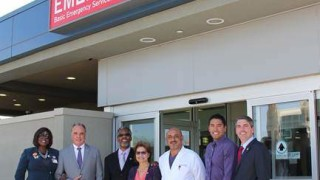 Following Thursday's ribbon-cutting ceremony at Community Hospital of San Bernardino, a few guests gather at entrance of expanded emergency department. Left to right are June Collison, Mike Morrell, Rikke Van Johnson, Virginia Marquez, Dr. Cameron Nouri, Enrique Armenta and Marc Steinorth. Courtesy photo