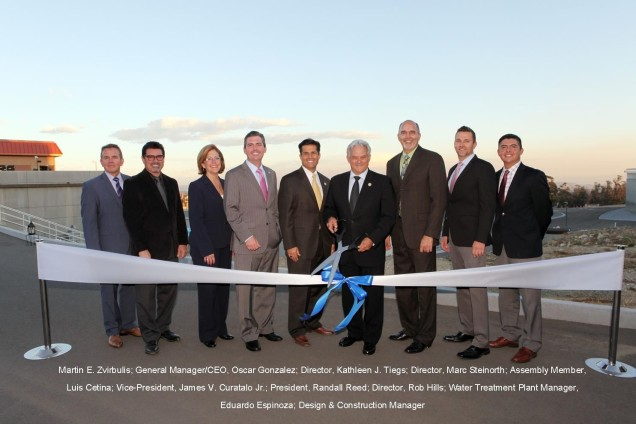 Officials hold a ceremony for the Cucamonga Valley Water District's upgraded Lloyd W. Michael Water Treatment Plant. - Marc Steinorth, 40th Assembly District